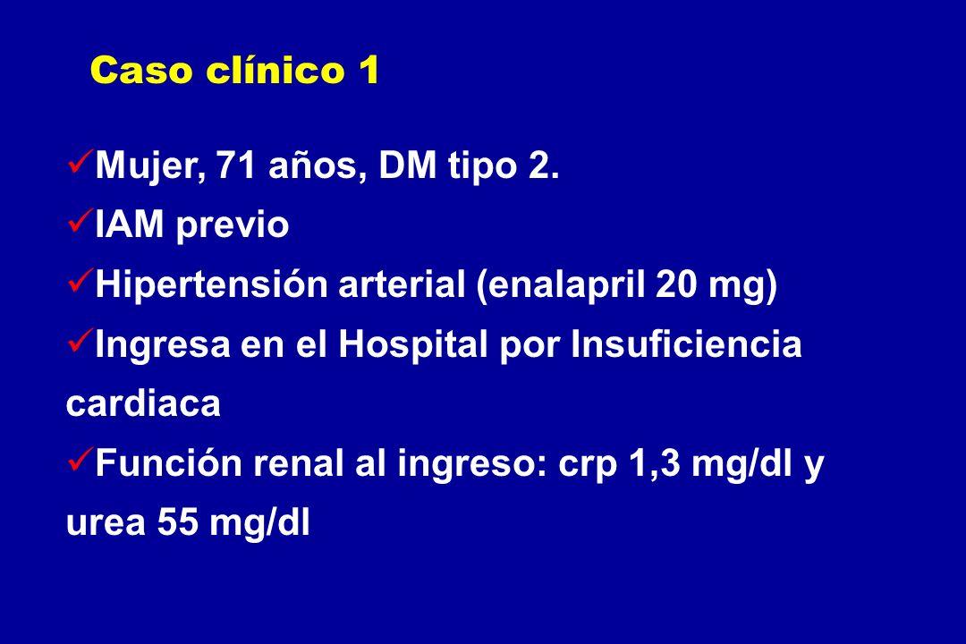 Caso clínico 1 Mujer, 71 años, DM tipo 2. IAM previo. Hipertensión arterial (enalapril 20 mg)