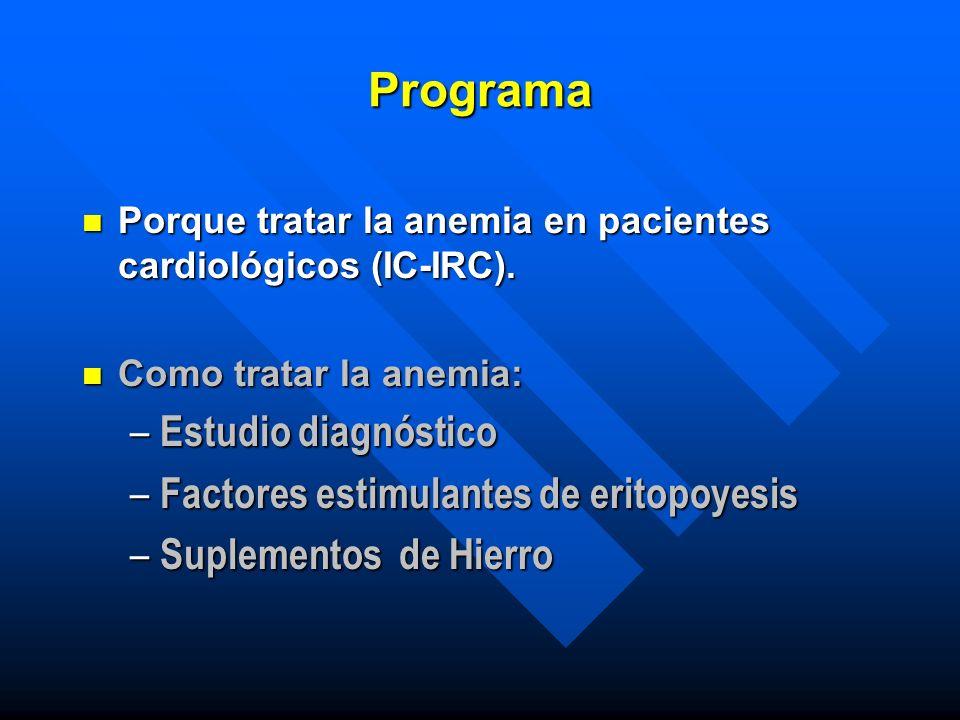 Programa Estudio diagnóstico Factores estimulantes de eritopoyesis