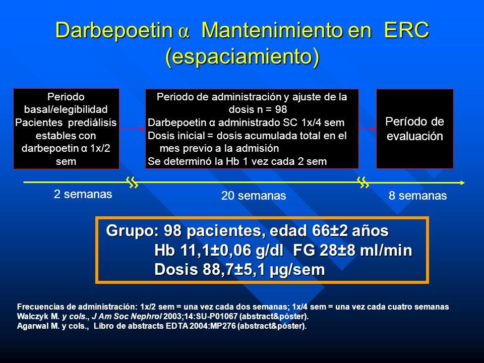 Darbepoetin α Mantenimiento en ERC (espaciamiento)