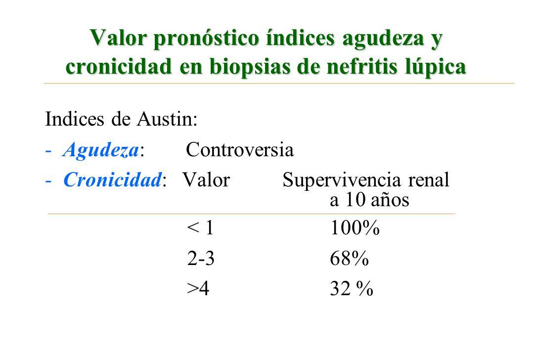 Valor pronóstico índices agudeza y cronicidad en biopsias de nefritis lúpica