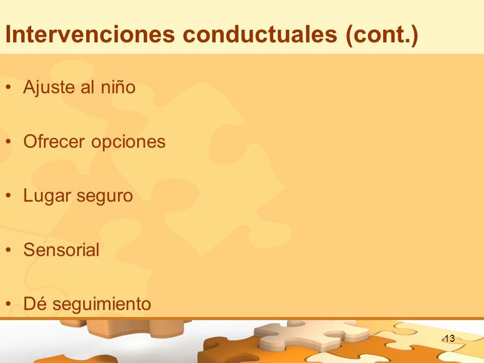 Intervenciones conductuales (cont.)