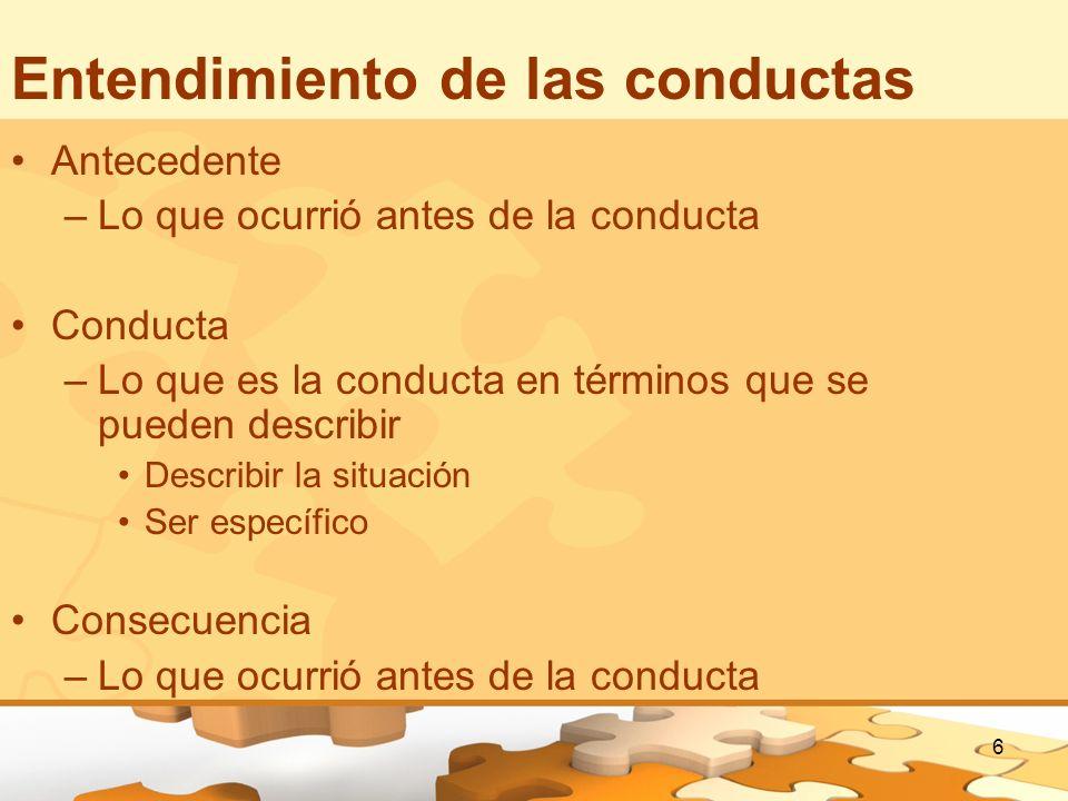 Entendimiento de las conductas
