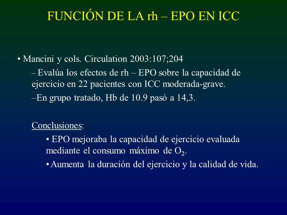 FUNCIÓN DE LA rh – EPO EN ICC