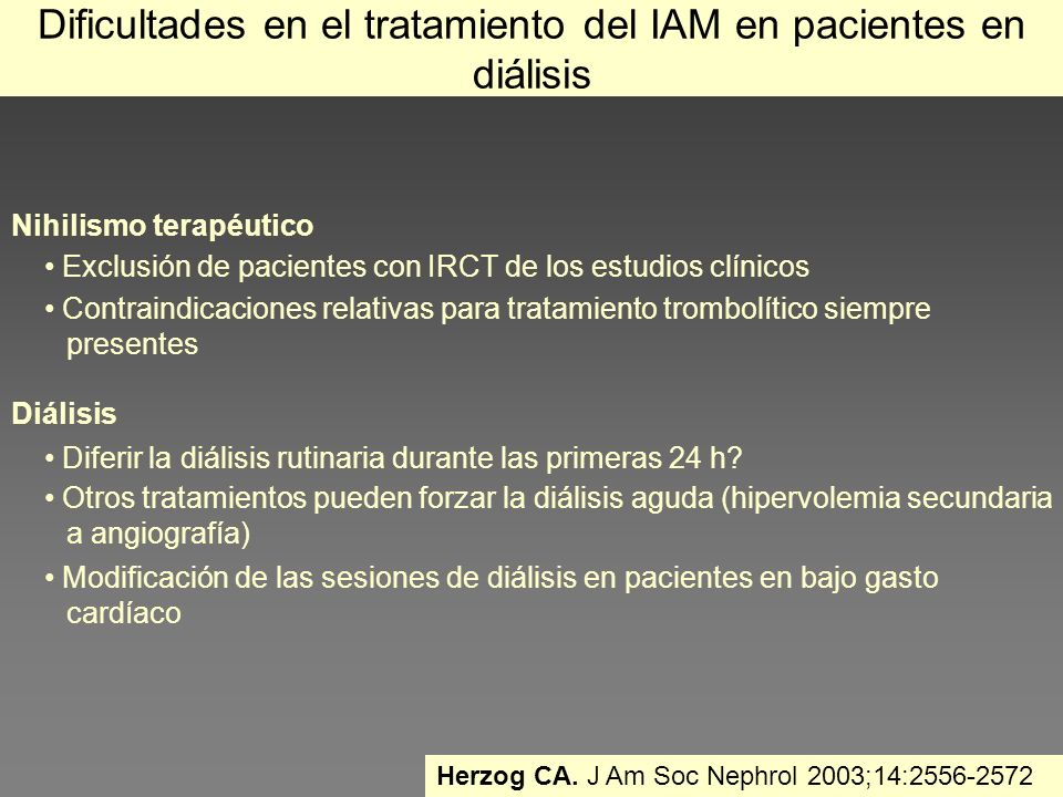 Dificultades en el tratamiento del IAM en pacientes en diálisis