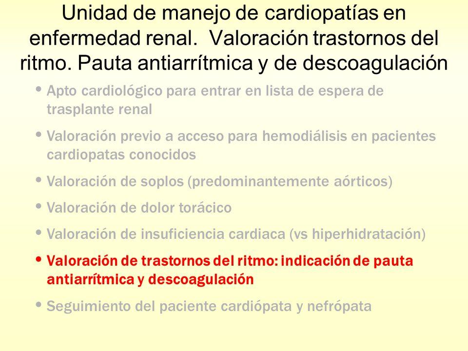 Unidad de manejo de cardiopatías en enfermedad renal