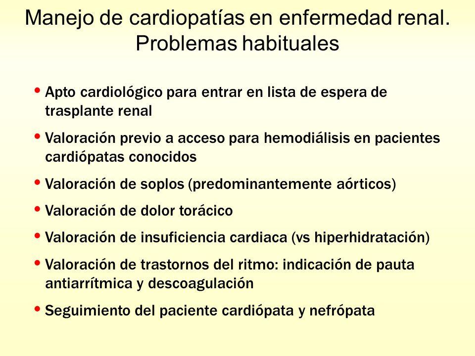Manejo de cardiopatías en enfermedad renal. Problemas habituales