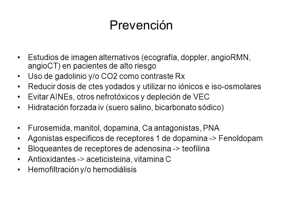 Prevención Estudios de imagen alternativos (ecografía, doppler, angioRMN, angioCT) en pacientes de alto riesgo.