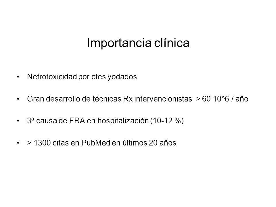 Importancia clínica Nefrotoxicidad por ctes yodados