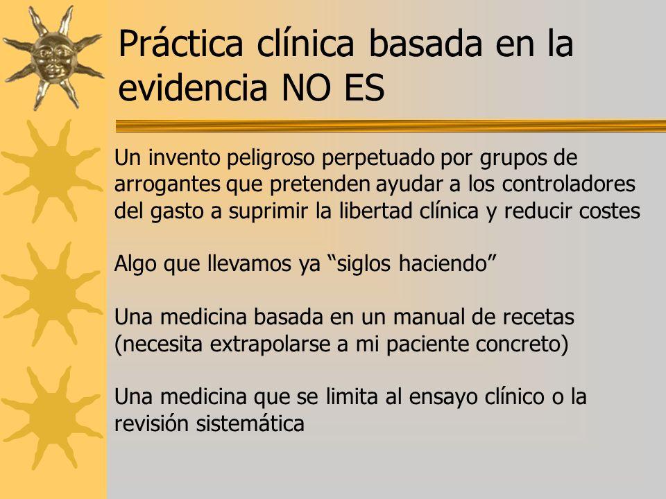 Práctica clínica basada en la evidencia NO ES