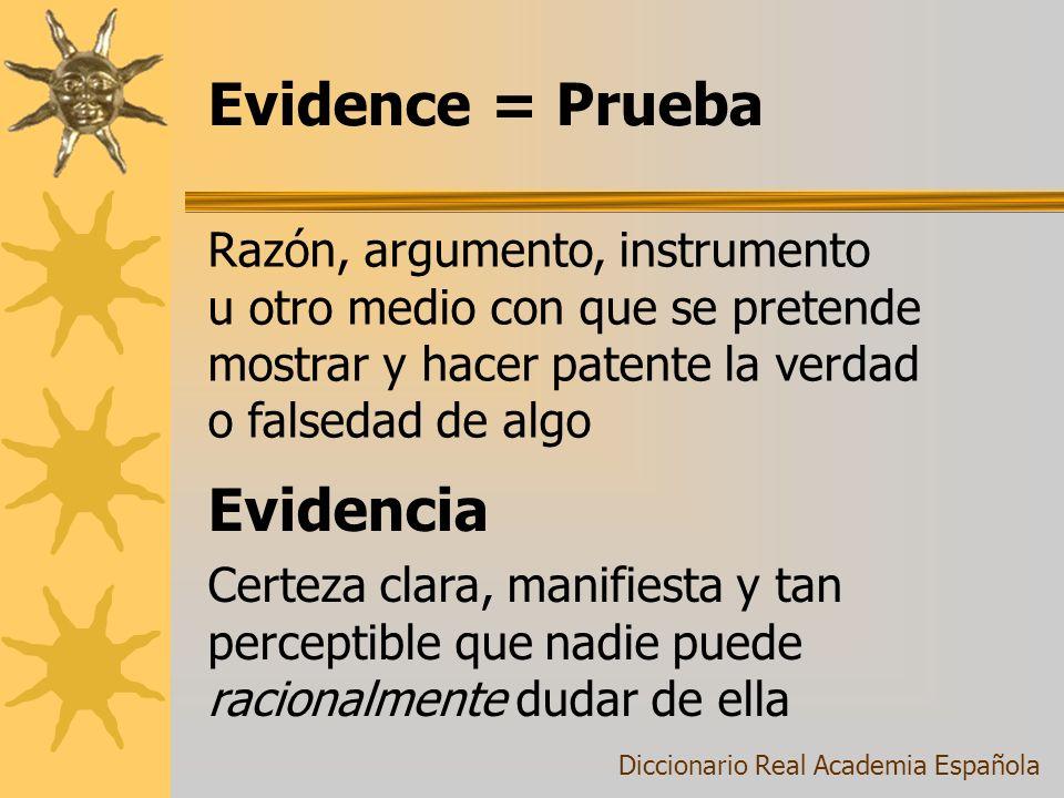 Evidence = Prueba Evidencia