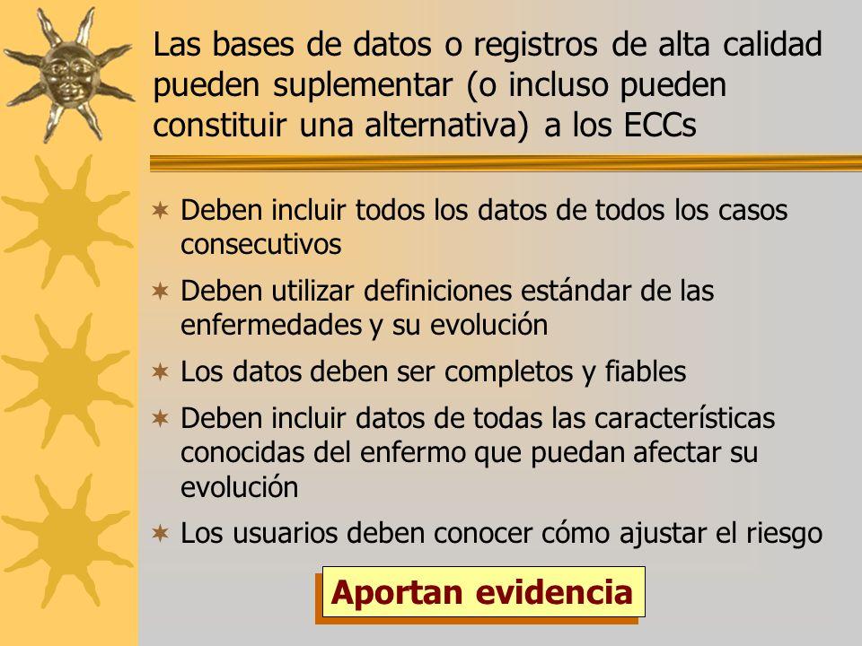 Las bases de datos o registros de alta calidad pueden suplementar (o incluso pueden constituir una alternativa) a los ECCs