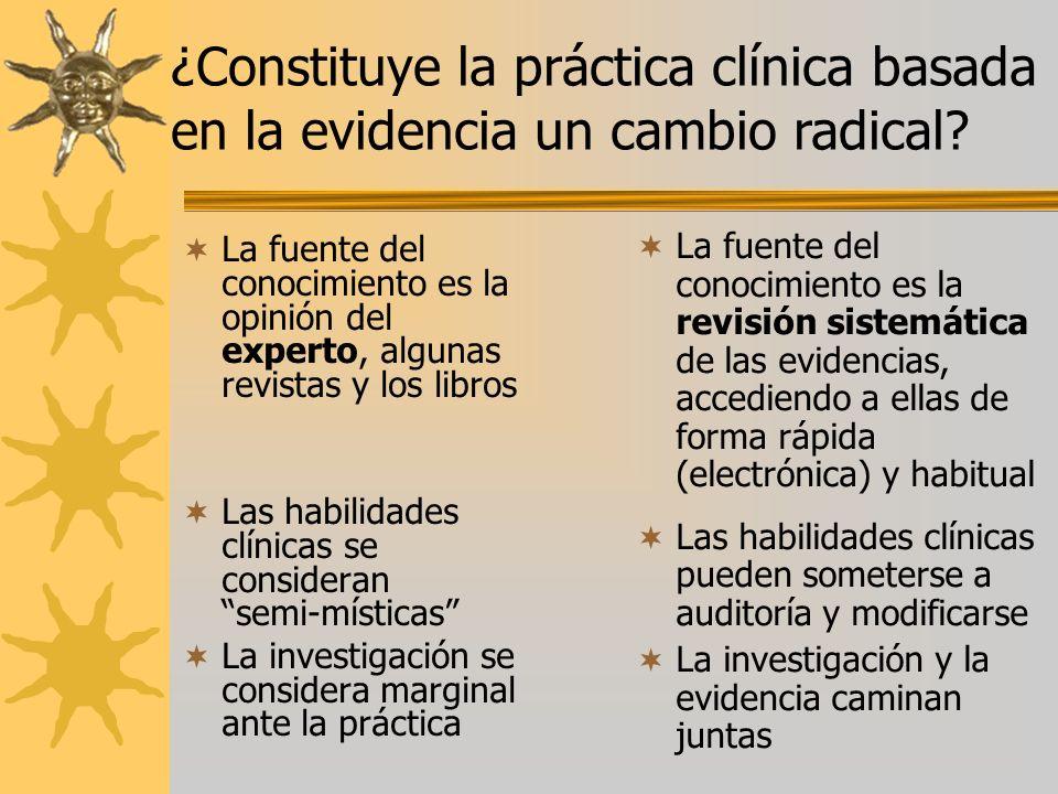 ¿Constituye la práctica clínica basada en la evidencia un cambio radical