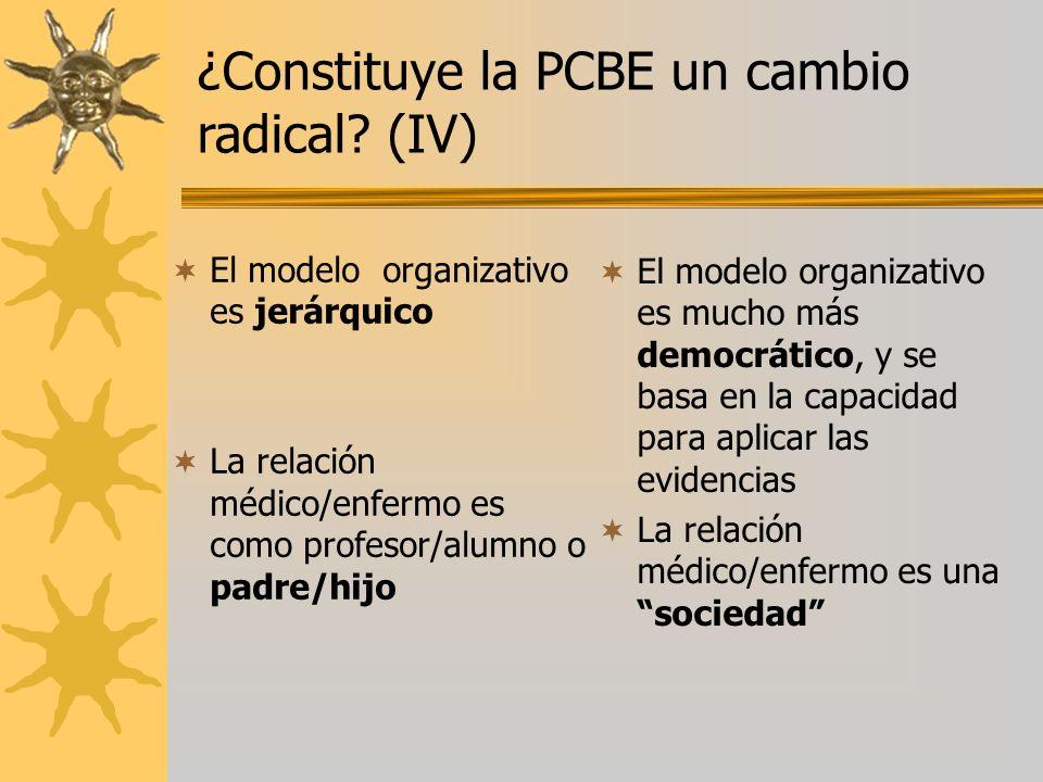 ¿Constituye la PCBE un cambio radical (IV)