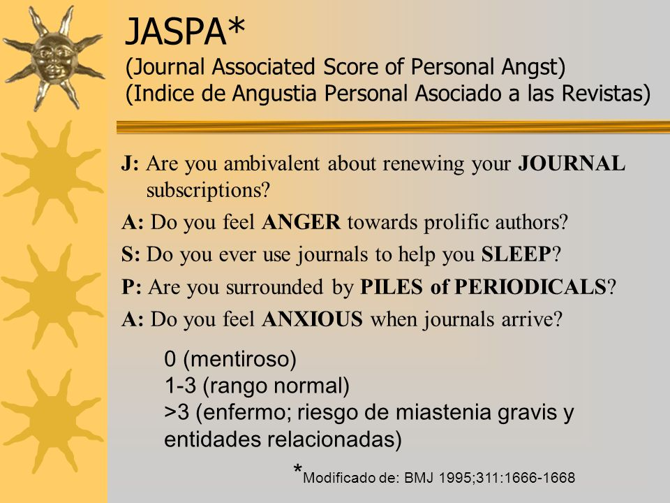 JASPA* (Journal Associated Score of Personal Angst) (Indice de Angustia Personal Asociado a las Revistas)