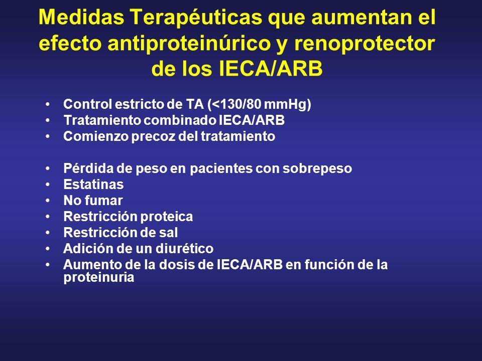 Medidas Terapéuticas que aumentan el efecto antiproteinúrico y renoprotector de los IECA/ARB