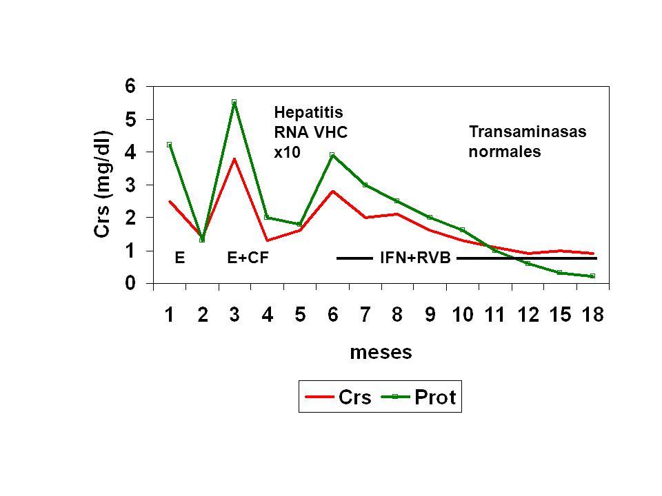 Hepatitis RNA VHC x10 Transaminasas normales E E+CF IFN+RVB