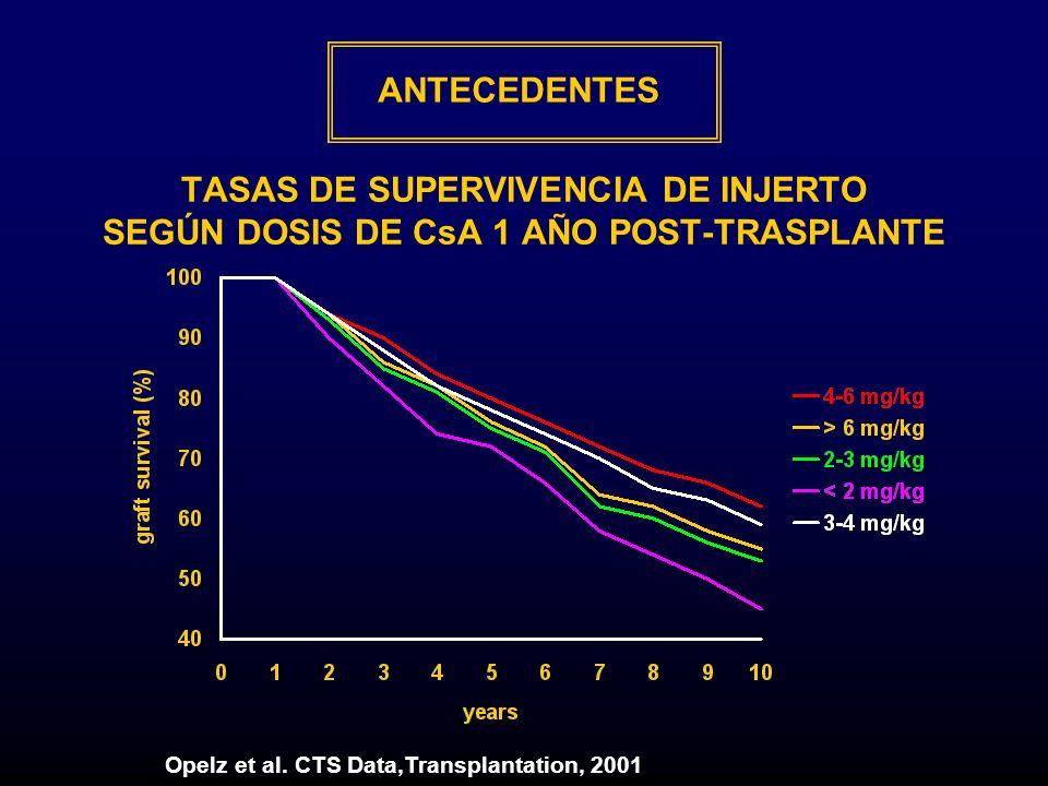 ANTECEDENTES TASAS DE SUPERVIVENCIA DE INJERTO SEGÚN DOSIS DE CsA 1 AÑO POST-TRASPLANTE.