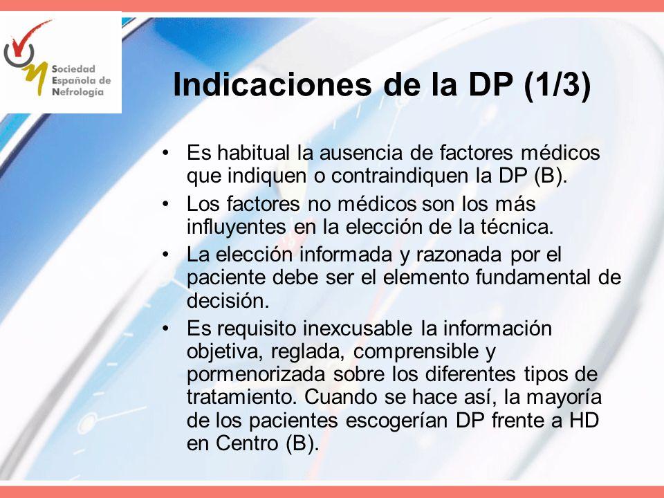 Indicaciones de la DP (1/3)