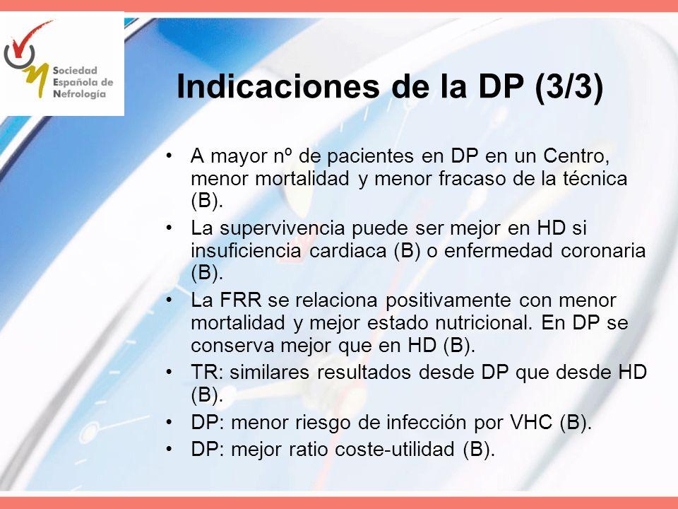 Indicaciones de la DP (3/3)