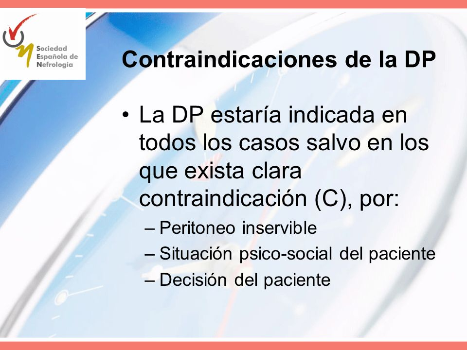 Contraindicaciones de la DP