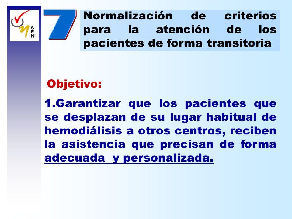 7 Normalización de criterios para la atención de los pacientes de forma transitoria. Objetivo: