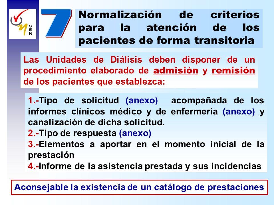 7 Normalización de criterios para la atención de los pacientes de forma transitoria.