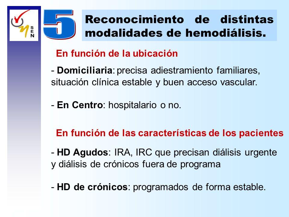 5 Reconocimiento de distintas modalidades de hemodiálisis.