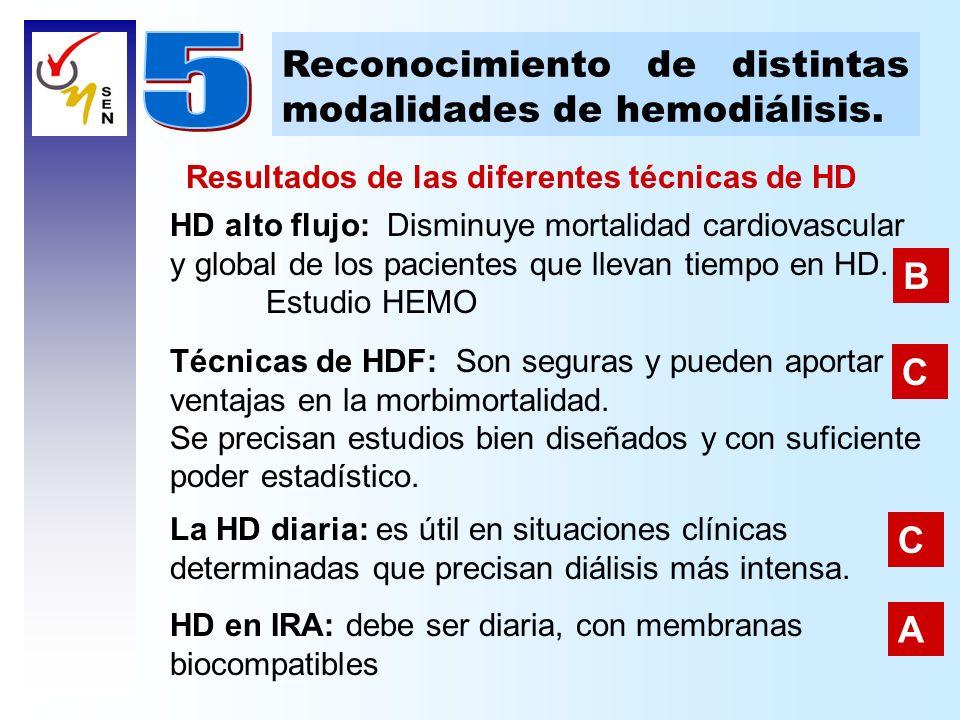 5 Reconocimiento de distintas modalidades de hemodiálisis. B C C A