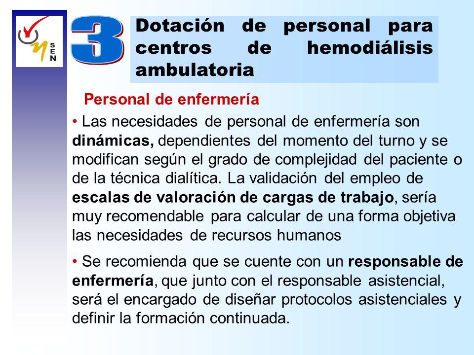3 Dotación de personal para centros de hemodiálisis ambulatoria