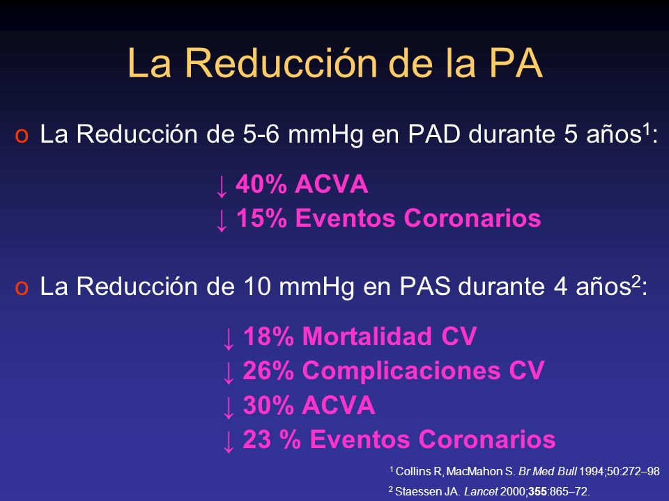 La Reducción de la PA La Reducción de 5-6 mmHg en PAD durante 5 años1: