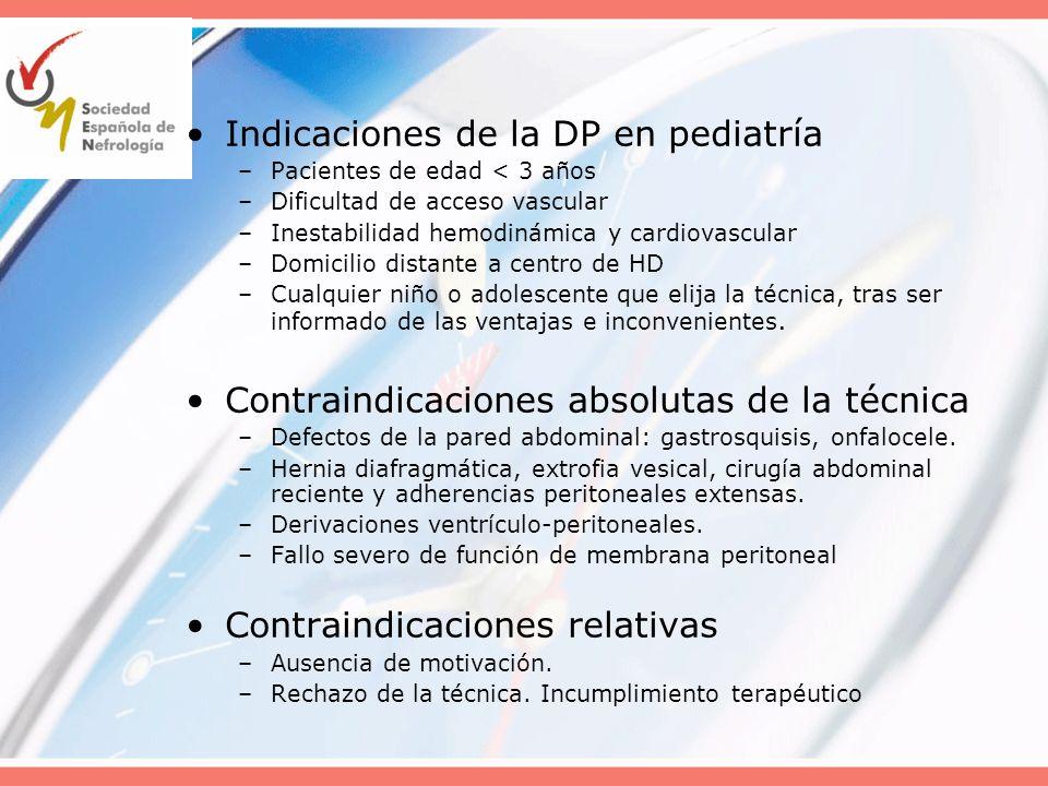 Indicaciones de la DP en pediatría