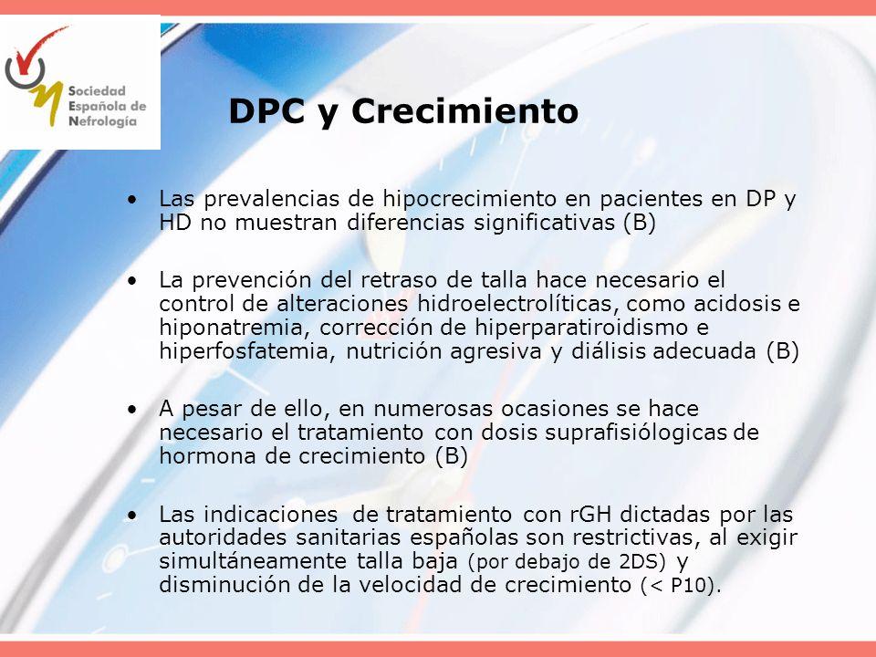 DPC y CrecimientoLas prevalencias de hipocrecimiento en pacientes en DP y HD no muestran diferencias significativas (B)