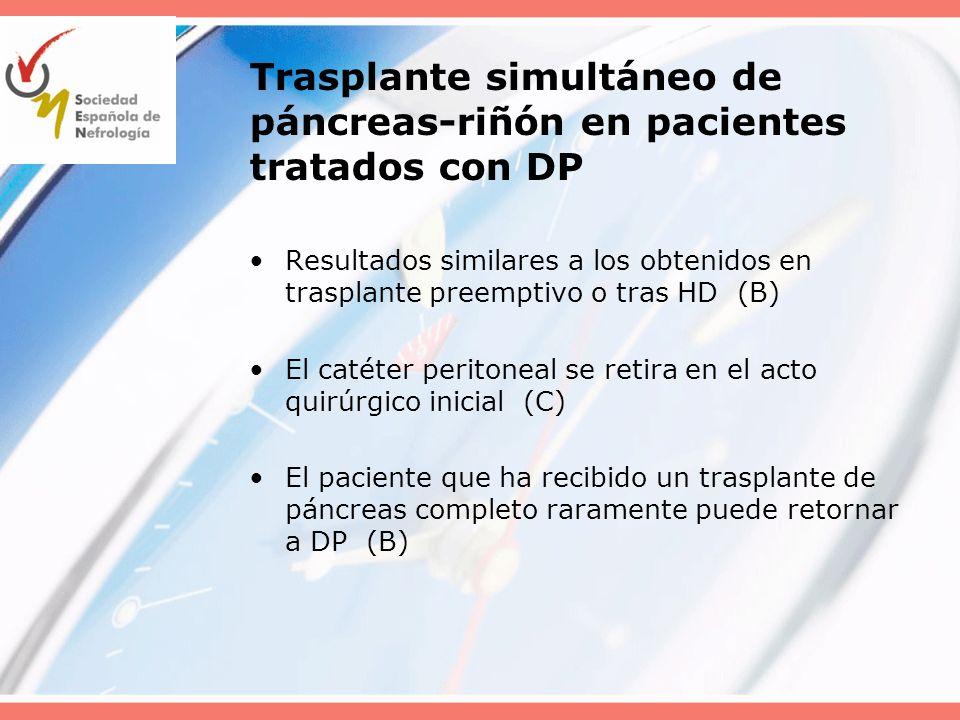 Trasplante simultáneo de páncreas-riñón en pacientes tratados con DP