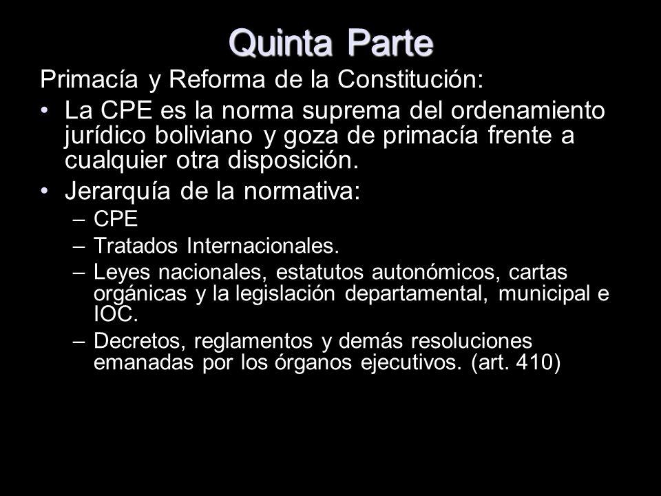 Quinta Parte Primacía y Reforma de la Constitución: