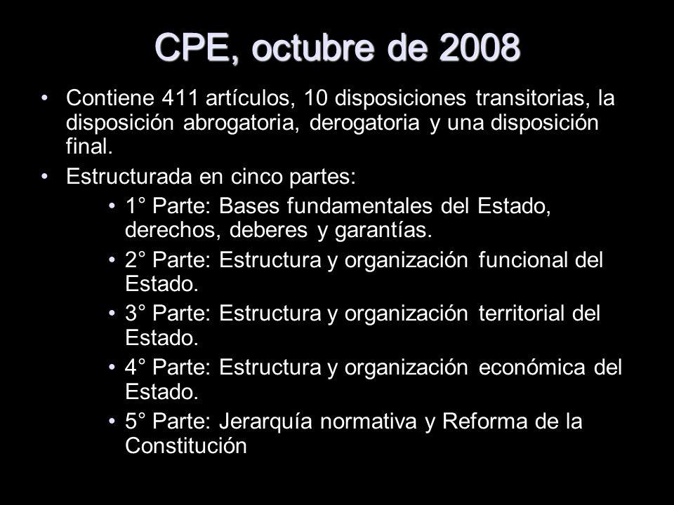 CPE, octubre de 2008Contiene 411 artículos, 10 disposiciones transitorias, la disposición abrogatoria, derogatoria y una disposición final.