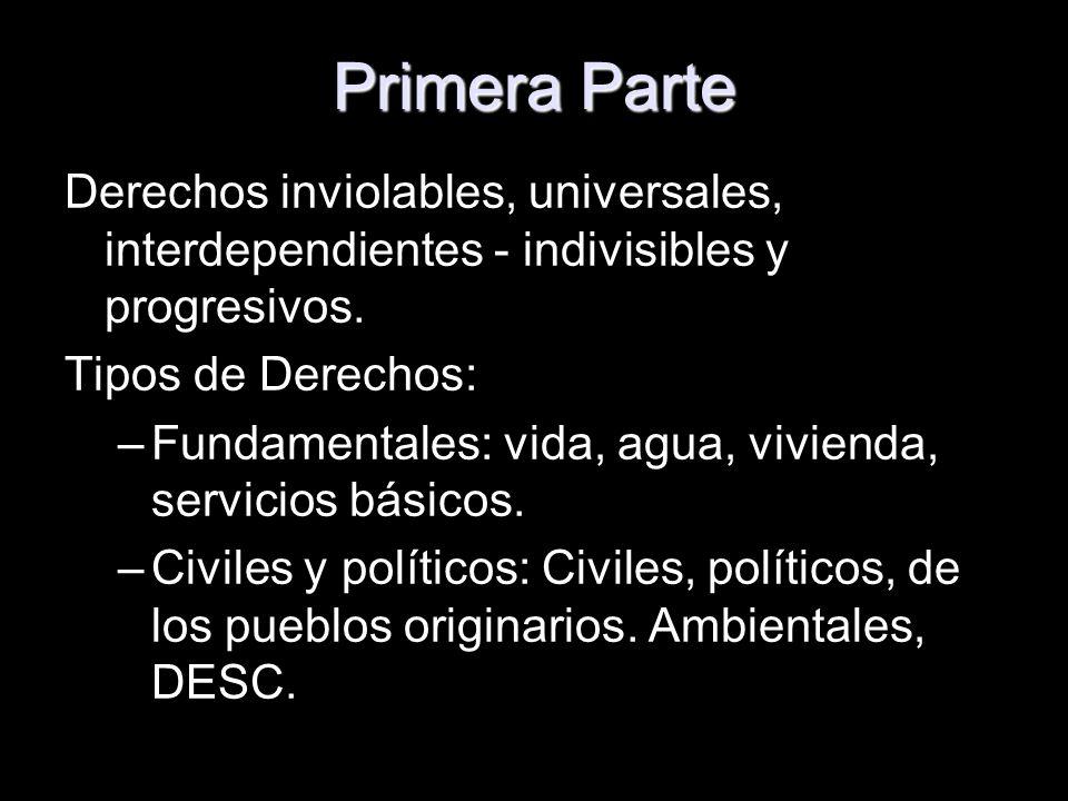 Primera ParteDerechos inviolables, universales, interdependientes - indivisibles y progresivos. Tipos de Derechos: