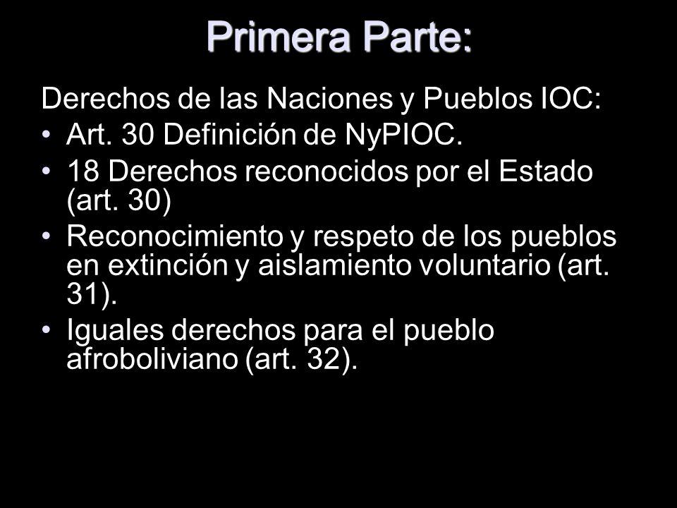 Primera Parte: Derechos de las Naciones y Pueblos IOC: