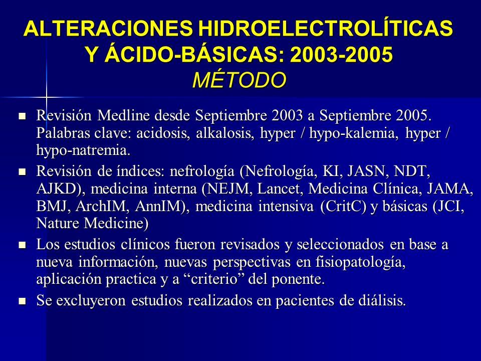 ALTERACIONES HIDROELECTROLÍTICAS Y ÁCIDO-BÁSICAS: 2003-2005 MÉTODO