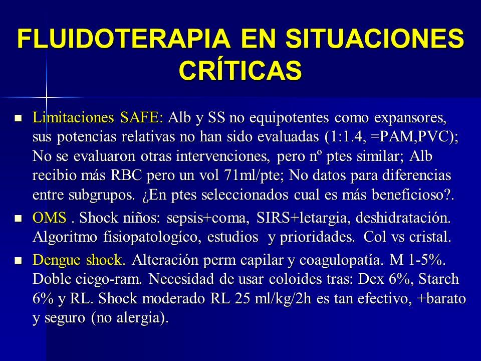 FLUIDOTERAPIA EN SITUACIONES CRÍTICAS