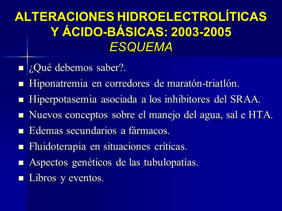 ALTERACIONES HIDROELECTROLÍTICAS Y ÁCIDO-BÁSICAS: 2003-2005 ESQUEMA