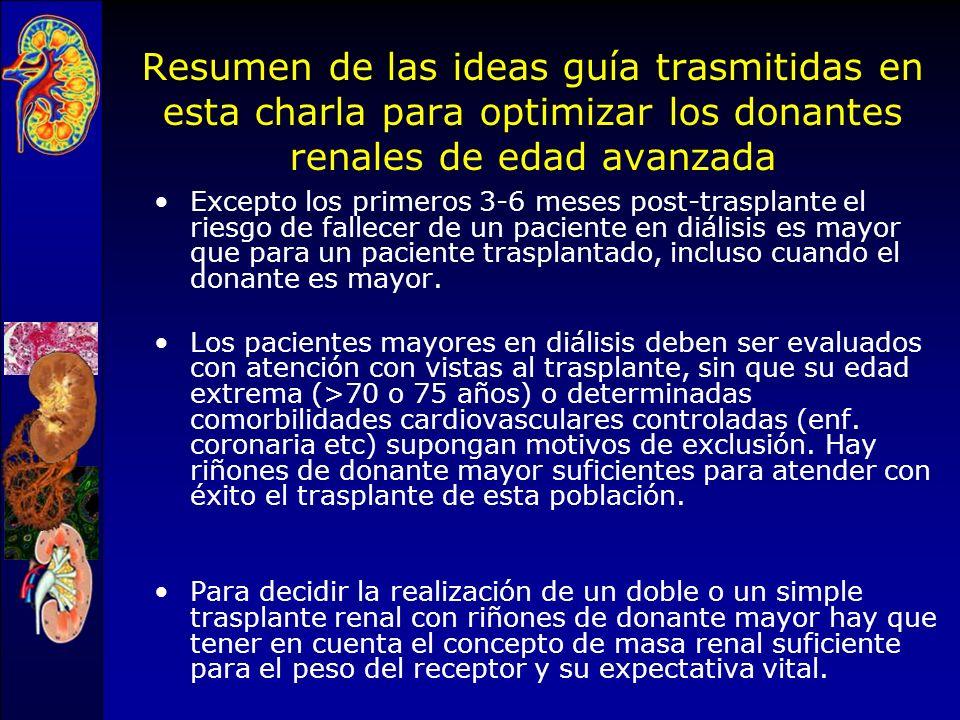 Resumen de las ideas guía trasmitidas en esta charla para optimizar los donantes renales de edad avanzada
