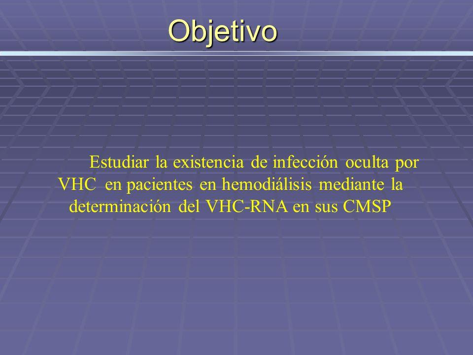 Objetivo Estudiar la existencia de infección oculta por VHC en pacientes en hemodiálisis mediante la determinación del VHC-RNA en sus CMSP.