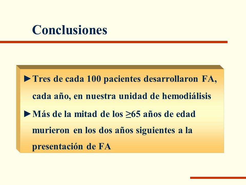 Conclusiones Tres de cada 100 pacientes desarrollaron FA,