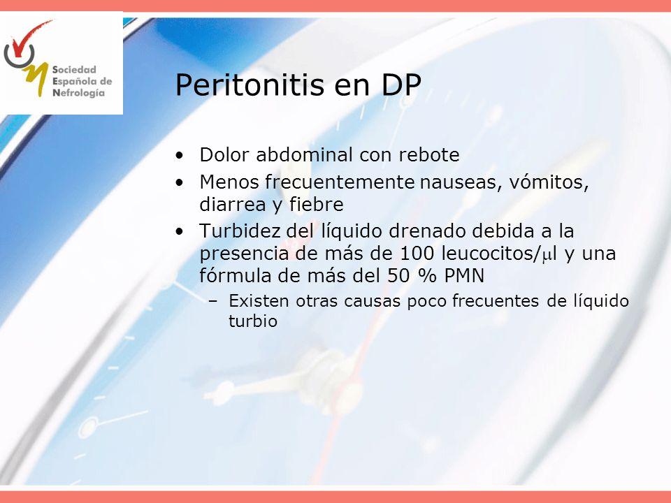 Peritonitis en DP Dolor abdominal con rebote
