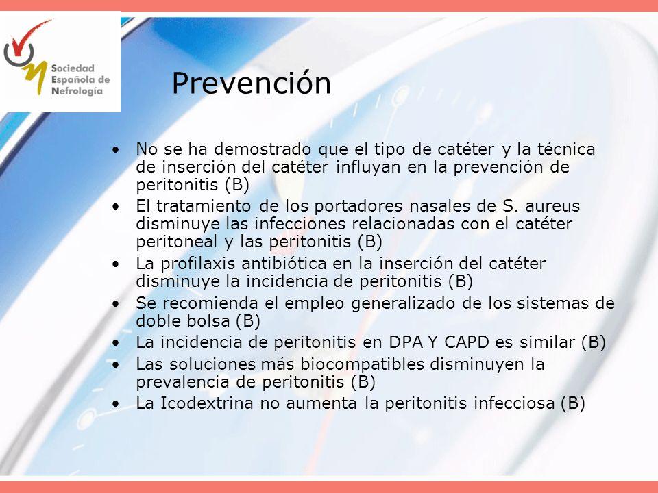 Prevención No se ha demostrado que el tipo de catéter y la técnica de inserción del catéter influyan en la prevención de peritonitis (B)