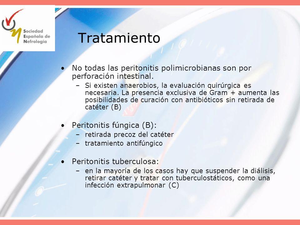 Tratamiento No todas las peritonitis polimicrobianas son por perforación intestinal.