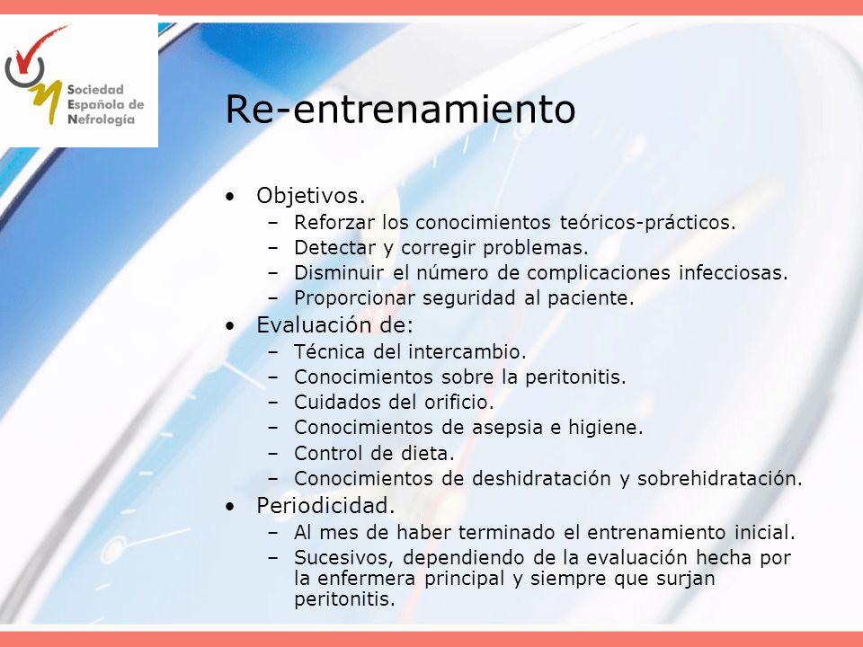 Re-entrenamiento Objetivos. Evaluación de: Periodicidad.