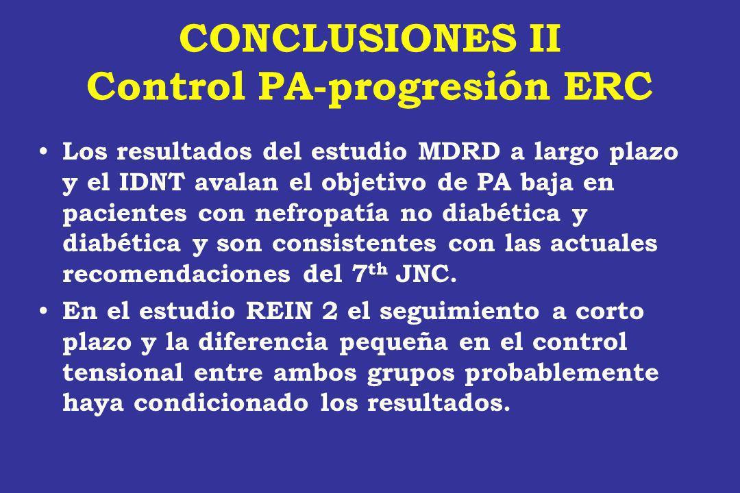 CONCLUSIONES II Control PA-progresión ERC