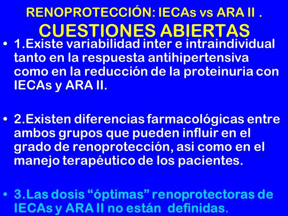 RENOPROTECCIÓN: IECAs vs ARA II . CUESTIONES ABIERTAS