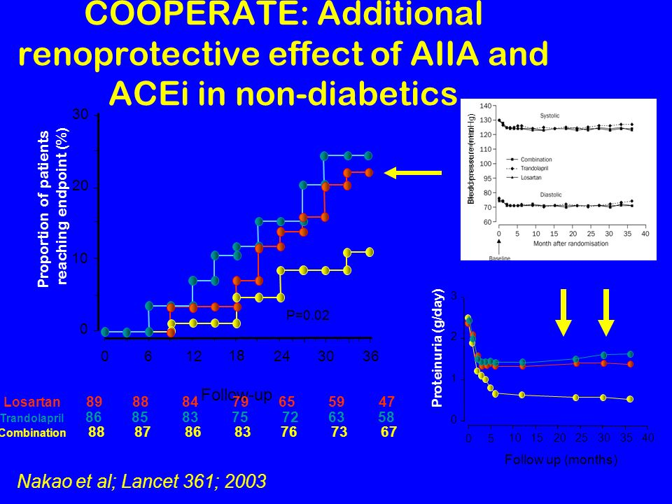 COOPERATE: Additional renoprotective effect of AIIA and ACEi in non-diabetics